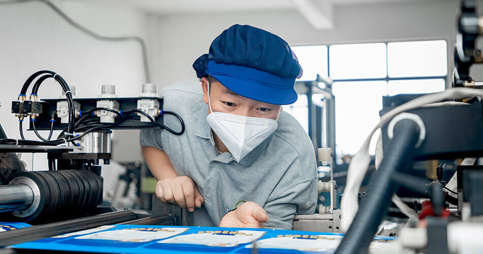specialized worker focusing on quality of products