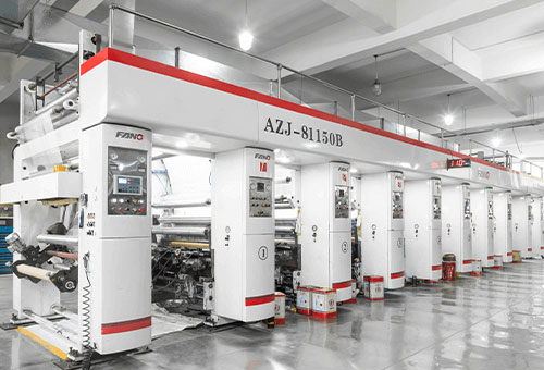 rotogravure and flexographic presses in flexible packaging factory